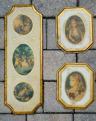 3 vintage Italian tole wall hanging plaques florentine Hollywood Regency antique