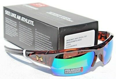 270c597dcb UNDER ARMOUR Big Shot POLARIZED Sunglasses Crystal Tortoise Green Storm NEW   160