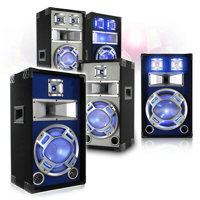 "CHOICE Skytec Blue LED Bass Reflex Passive Disco Party Speaker 6""-15"" 400-1000W"