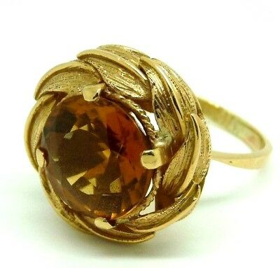 Vintage Ring 50'S Gold Solid 18 Ct With Quartz Citrine Cocktail Ring
