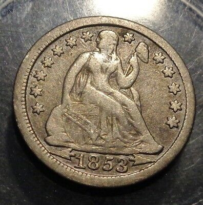 VERY nice original toned Very Fine VF 1853 Seated Liberty silver 10C dime