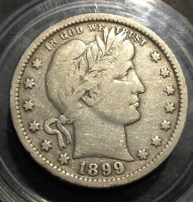 Very nice Fine+ near VF Tougher date 1899 P Barber/Liberty silver 25C quarter