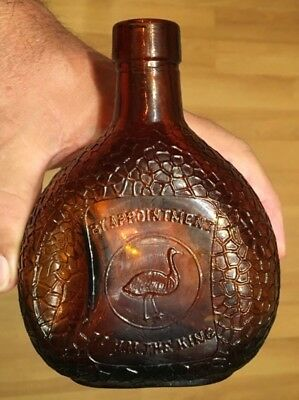 SCARCE EMU PICTORIAL 'TO HIS MAJESTY THE KING' BLADDER BOTTLE 1920's