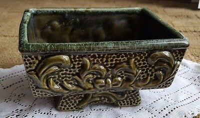 "Green scroll work ceramic planter, American Bisque (?) 7"" x 5 1/4"" x 4"" tall"