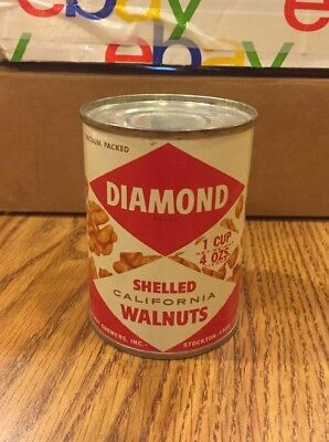 Rare 4oz UNOPENED FULL Diamond Shelled Walnuts Tin Product Can Pre Barcode NOS