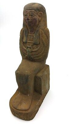 Ancient Egyptian Seated Pharaoh Statue BC Antique