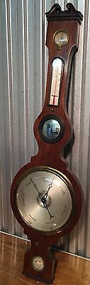 C. Alano Canterbury Antique Georgian Mahogany Wood Banjo Wheel Barometer