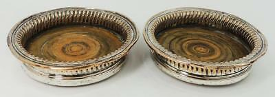 PAIR GEORGIAN OLD SHEFFIELD PLATE BOTTLE COASTERS c1800 Ribbed Design