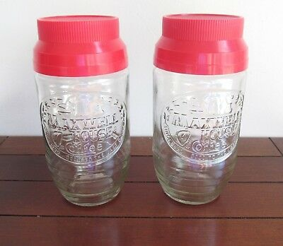 Vintage glass Maxwell House Coffee jars(2)-red caps-