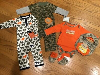 Lot Of 5 Baby Boy 3-6 Mo Lion Camo Design Items - Bib Playsuit Bodysuits Booties