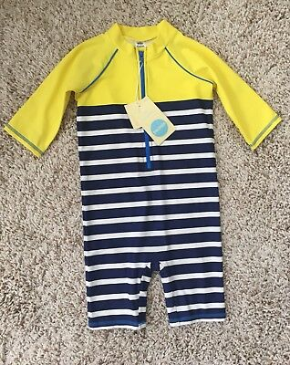 Baby Boden Baby Boys One-piece Swimsuit/rashguard. 18-24 Mo. New With Tags