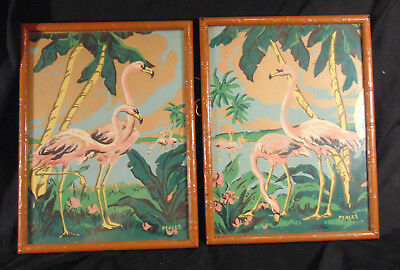 Vintage 1950's PBN Paint By Number Flamingo Paintings Lot of 2 w/ Original Frame