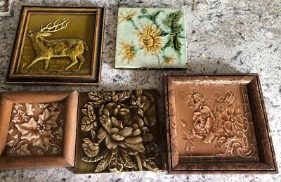 Antique Minton China Works Stoke On Trent & Other No Name Tile Art Lot