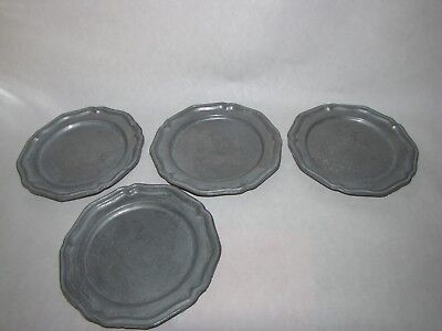 Set of 4 ~ CROWN-CASTLE ~ Pewter Bread & Butter /  Dessert Plates ~ 61/2""