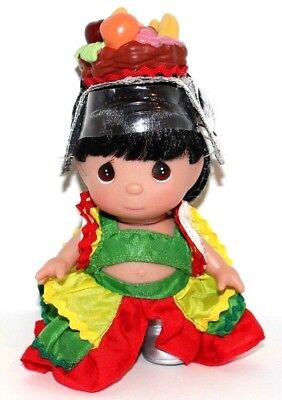 """Disney It's A Small World Fruit Basket Hat Precious Moments 5"""" Vinyl Doll SIGNED"""