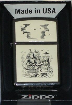 Tall Ship and Lighthouse Scrimshaw Zippo Windproof Lighter