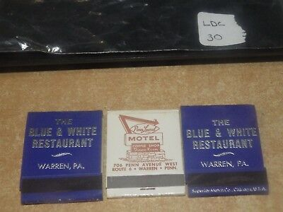 Lot Of 3 Vintage Advertising Matchbooks Warren Pa Penn Laurel Hotel Restaurant