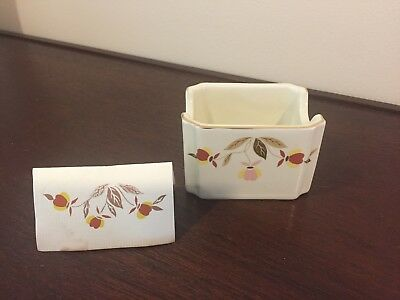 Hall Autumn Leaf Teabag/Sugar Caddy/Holder NALCC 1990, Mint!