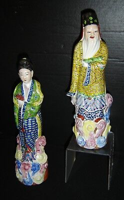 Antique Chinese Famille Rose Large Pair Immortals Tao Porcelain Figures Signed.