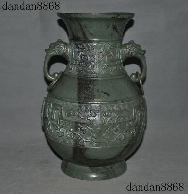 Old Chinese Bronze Copper Double Dragon Head Statue Zun Cup Bottle Pot Vase Jar