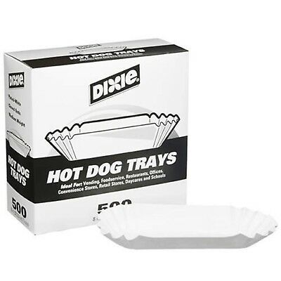 "Dixie 8"" Fluted Hot Dog Tray 500ct New"