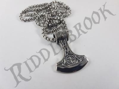 Stainless Steel Viking axe biker Pendant and necklace 60cm chain Norse vehm Odin