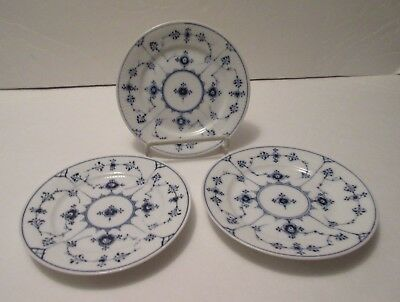 Three Royal Copenhagen Plain Blue Fluted Bread and Butter Plates, 1-300, H.P.