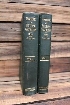 Vintage 1920 Handbook of Building Construction Hool & Johnson Vol 1 2 Old Tool