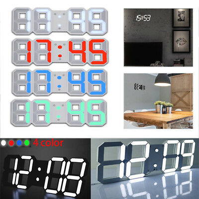USB 3D LED Digital Desktop Wall Clock Alarm w/ Snooze Function 12/24h Display MB