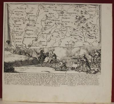 Castilla Brihuega Spain 1720 Valk & Schenk Unusual Antique Copper Engraved Map