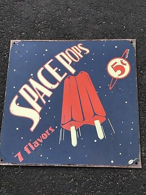 Vintage Space Pops 7 Flavors Metal Ice Cream Sign Made In USA 11.5X11.5
