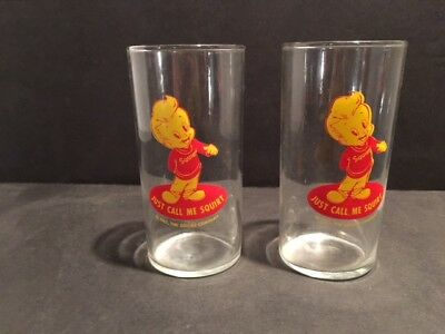 Pair of Rare 1952 Squirt Boy Soda Advertising Drinking Glasses