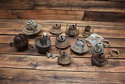 Bulk Vintage Antique Oil Lamp Burner Parts Blixten Duplex MIller Kerosene