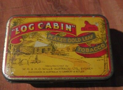 Vintage, Log Cabin, Tobacco Tin. Man cave collectable.