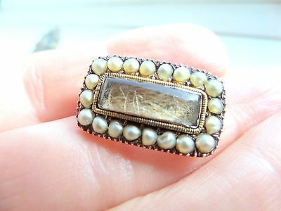 Georgian 15ct Gold and Seed Pearl Mourning Brooch