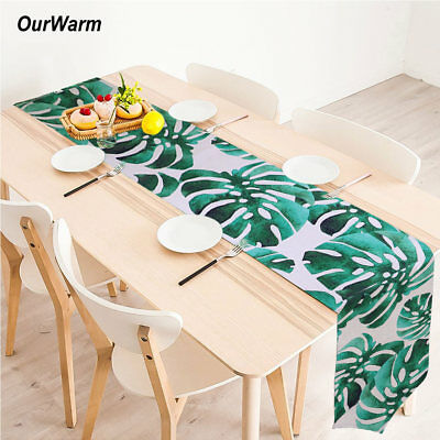 30*220 cm Cotton Monstera Table Runners Palm Green Leaf Table Decoration Modern