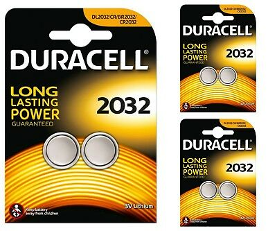 6 x Duracell CR2032 DL2032 2032 Coin Cell Batteries 3V Lithium 3 TWIN PACKS