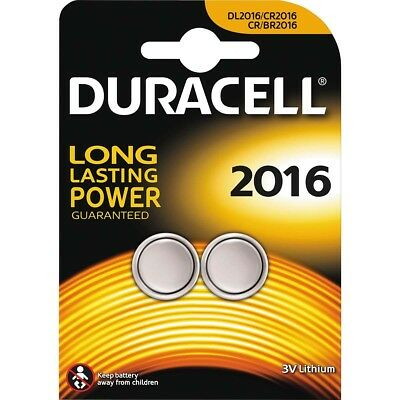 2 x Duracell CR2016 DL2016 2016 Coin Cell Batteries 3V Lithium TWIN PACK