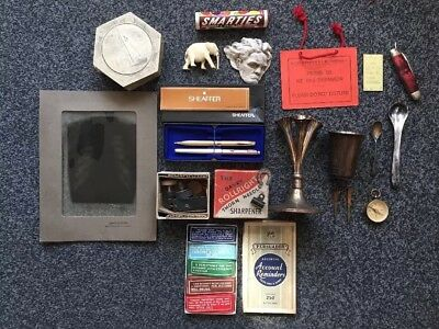 Job Lot of Silver & Curios - Flower Stand, Vintage X-Ray, Parker & Shaeffer Pens