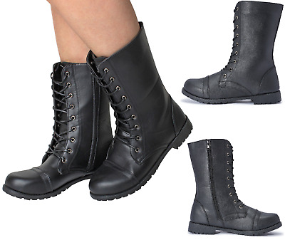 cccd393731a5 Ladies Womens Girl Military Black Boots Army Combat Ankle Lace Up Flat  Biker Zip