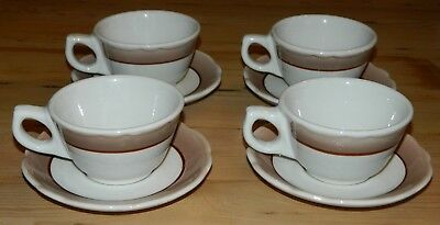 4 - Vintage 1960's Buffalo China Restaurant Coffee Cups w/Saucers Brown Trim