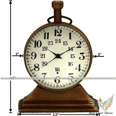 Table Decor Antique Brass Trophy Watch Desktop Nautical Vintage Maritime Clock