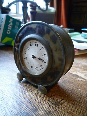 Vintage Small Deco nickel plated and celluloid faced clock
