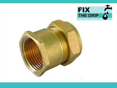 FtD STRAIGHT COUPLER BRASS 28mm Compression - 1 inch BSPT FEMALE IRON