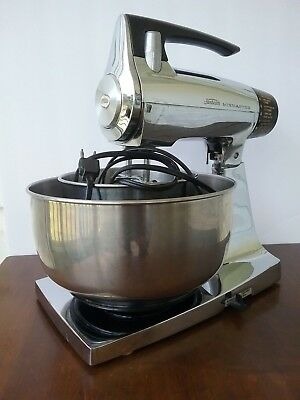 MCM  Chrome Sunbeam Stand Mixmaster 12 Speed 2 Stainless Steel Bowls Works