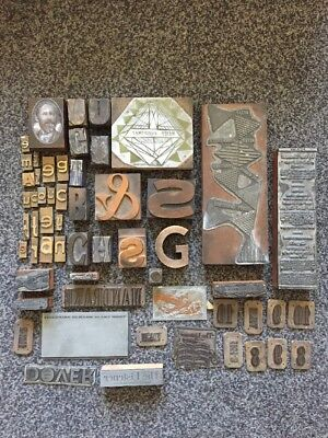 Job Lot Of Vintage / Antique Printing Blocks / Plates - Wood & Brass - Typefaces