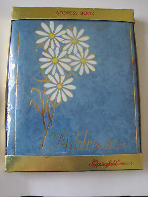 Vintage ADDRESS TELEPHONE BOOK Blue White Daisies NEW in ORIGINAL PACKAGING USA
