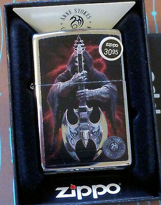 Zippo 29109 Anne Stokes Grim Reaper Guitar NEW Windproof Lighter Free Shipping