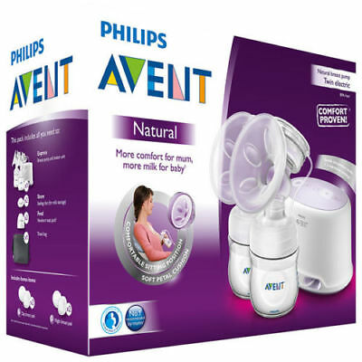 Philips Avent Natural Twin Electric Breast Pump Comfort Proven Bpa Free Double!!