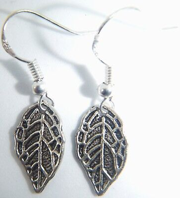 Antique Silver Small Leaf On Sterling silver Hooks Earrings Organza Gift Bag